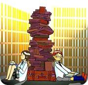 本の山と女の子と男の子