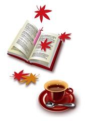 本とコーヒーの紅葉のイメージ