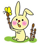ウサギと土筆