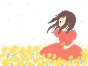 薫風と女の子のイラスト