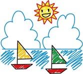 太陽と海とヨットのイラスト