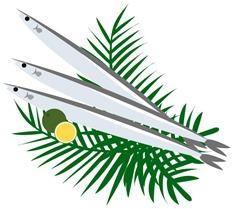 秋刀魚とかぼすのイラスト