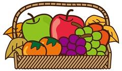 秋の果物バスケットのイラスト
